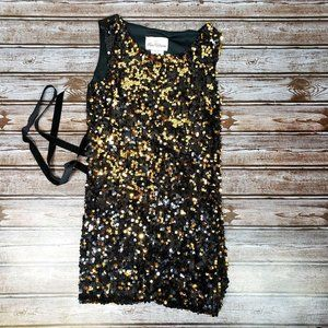 Rare Editions Sparkle Sequin Black & Gold Dress